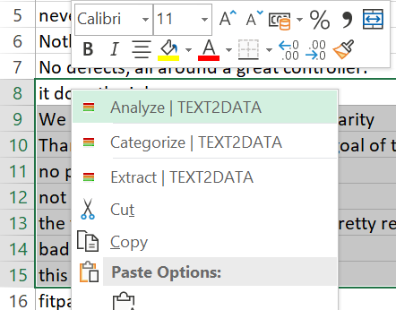 Excel analysis menu
