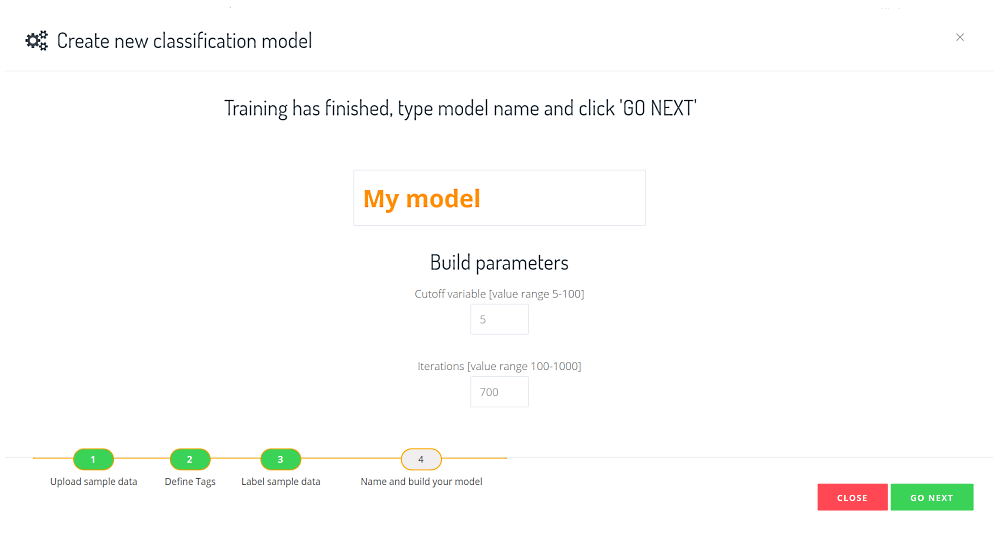 custom model build parameters
