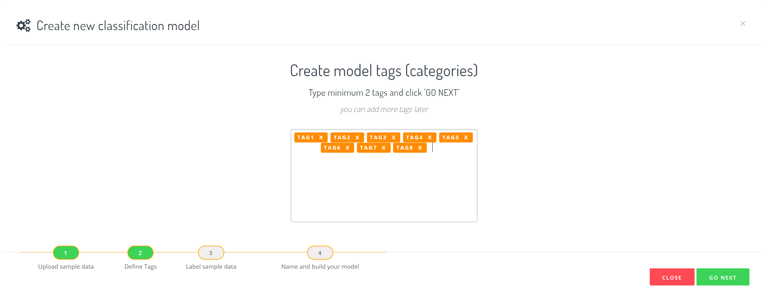 Custom Text Classification tagging