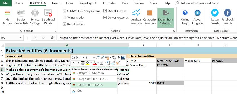 Custom Entity Extraction excel