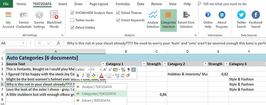 Custom Text Categorization excel
